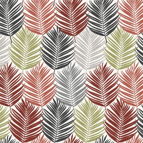 Baumwolle | bedruckt | Blätter | grau
