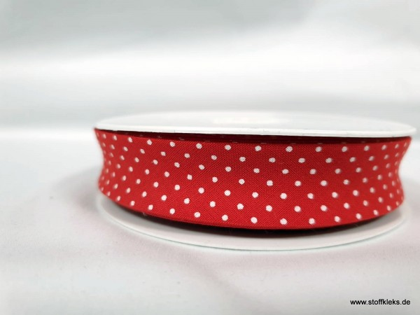 Schrägband/Einfassband | 20mm | Baumwolle | Pünktchen rot/weiss | 20m