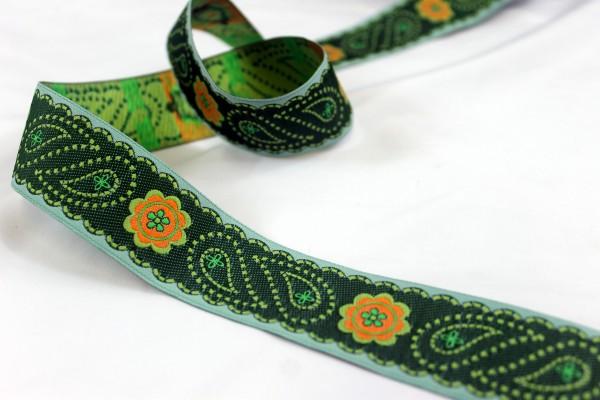 Webband | paisley Blume | grün | 3,4cm
