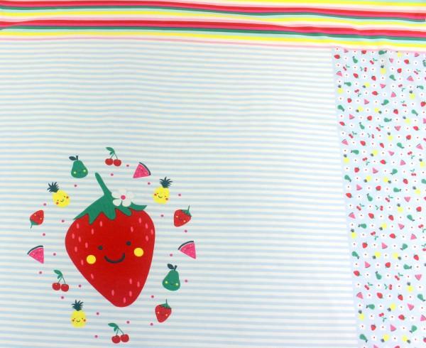 Jersey | bedruckt | Panel | Erdbeerobstsalat | Streifen | hellblau
