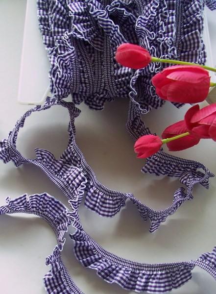 Rüschenband | Elastisch | 25mm | Vichy | lila/weiß