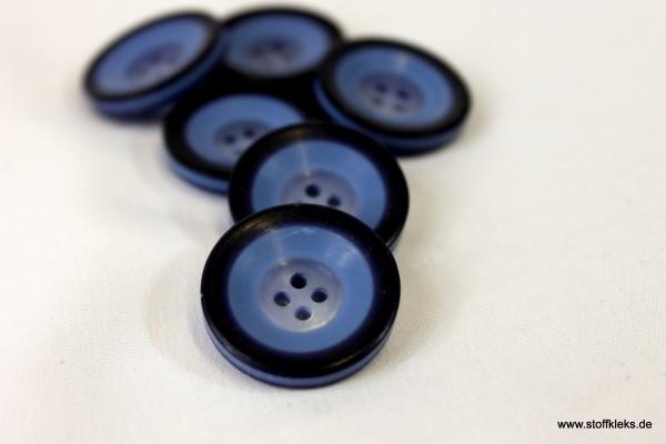 5 runde Kunststoff-Knöpfe | blau | ca 2,3cm