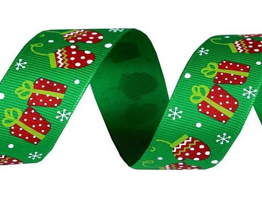 Ripsband | oh du Fröhliche | grün | 2,5 cm