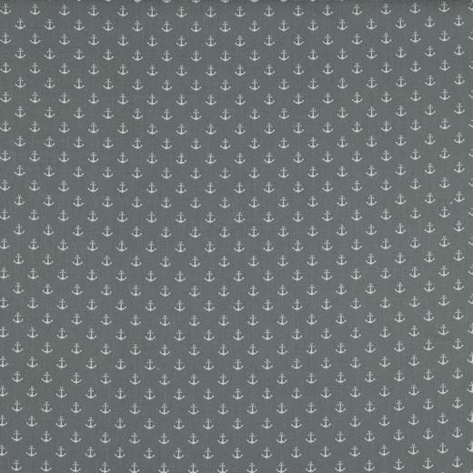 Baumwolle | bedruckt | Anker klein | grau