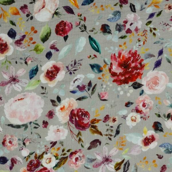 Baumwolle | double gauze/Musselin | aquarell Blumen | sand