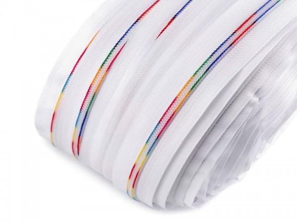 Reißverschluss | endlos | Spirale 6mm | Regenbogen | weiss