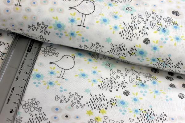 Baumwolle | bedruckt | Blumenzweige | gelb
