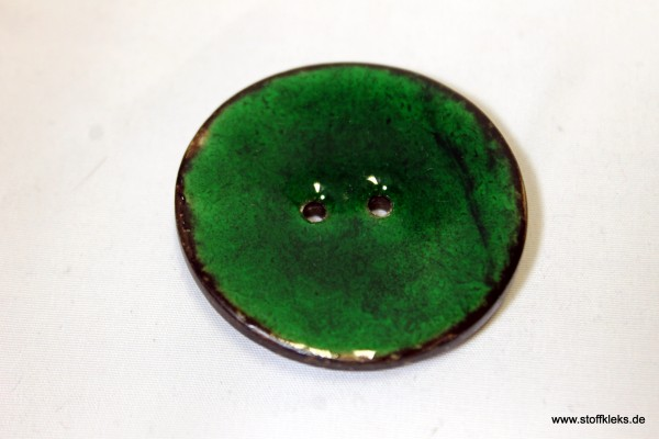 Knopf | emailliert | Kokosholz | Smaragd | 3,9 cm |