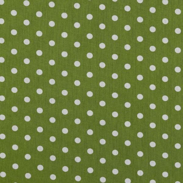 Baumwolle   bedruckt   8mm Punkte   grün/weiss