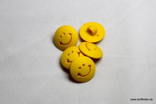 5 Knöpfe | Kunststoff | gelber Smiley | 1,1 cm