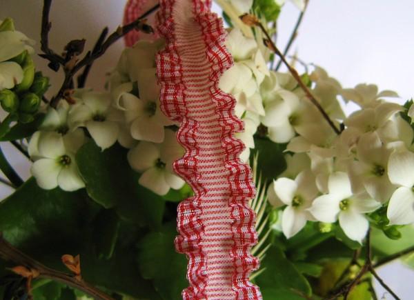 Doppel-Rüschenband   Elastisch   15mm   Vichy   rot/weiß