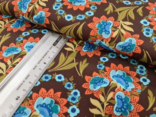 Sommersweat | French Terry | flower print | braun