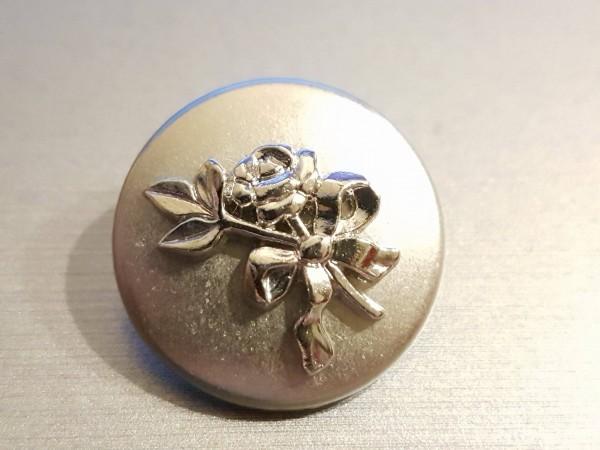 Knopf   Metall   Rose   silberfarbend gr.2