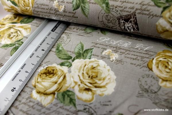 Baumwolle | bedruckt | Cosmo | Rosenmuster | hellbraun