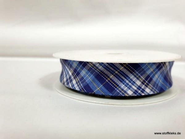 Schrägband/Einfassband | 20mm | Baumwolle | Karo dunkelblau | 3m