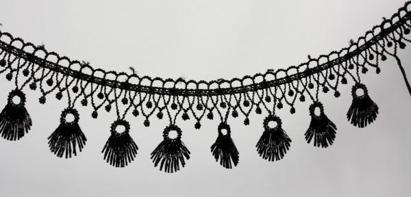 Häckelfransenborte | schwarz