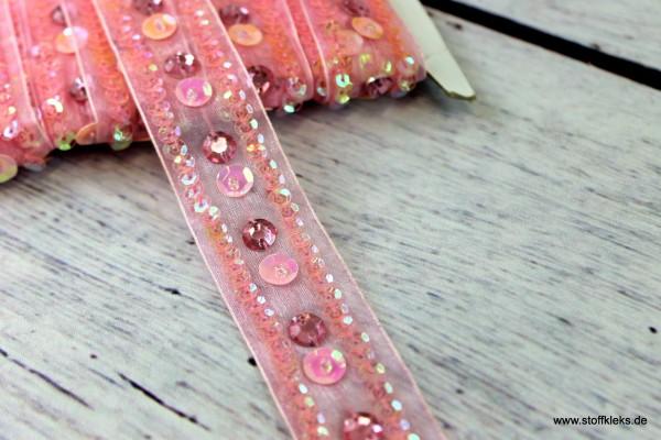 Organzaborte | Pailletten | rosa | 2,5 cm