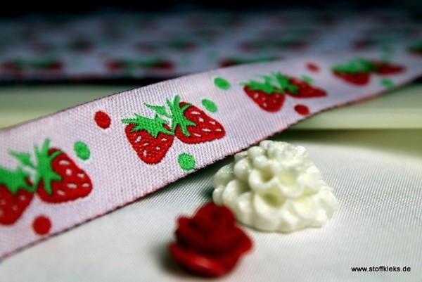 Webband | Erdbeeren | rosa
