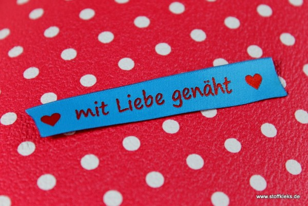 Applikation | Label | mit Liebe genäht | blau