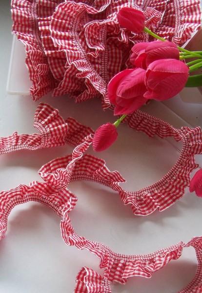 Rüschenband | Elastisch | 25mm | Vichy | rot/weiß