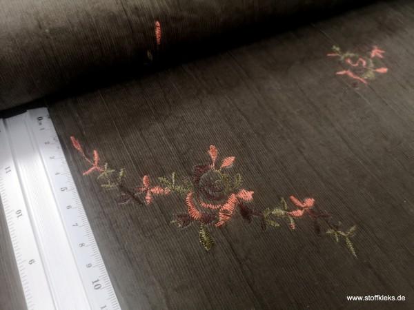Babycord | bestickt | Struktur-Blumen | schlammgrün