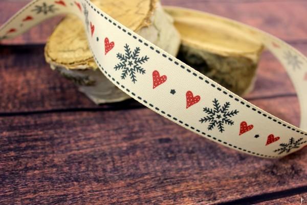 bedrucktes Band   star & heart   vanille   2,5cm