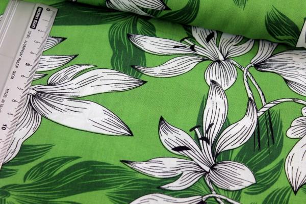 Viskose   bedruckt   LILIE   grün