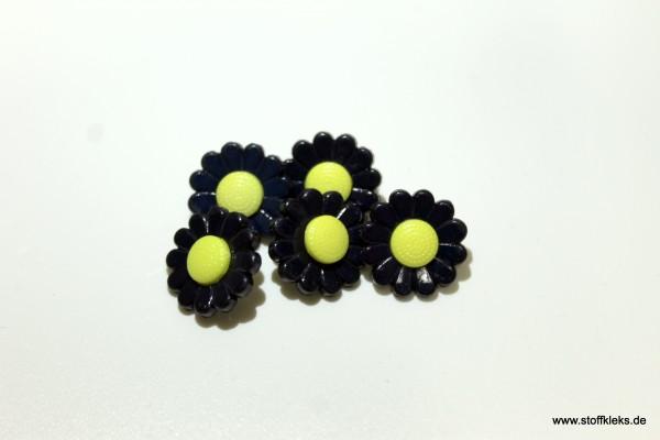 5 Knöpfe   Kunststoff   Blümchen   schwarz/gelb   1,3 cm