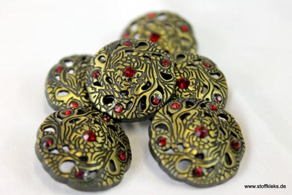 5 dunkle edle Knöpfe | rot | Öse | ca. 2,3 cm