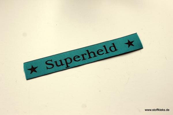 Applikation | Label | Superheld | petrol mit braun | 1,5 cm