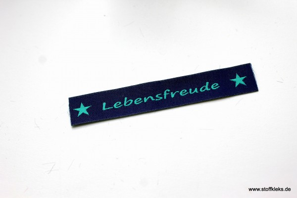 Applikation   Label   Lebensfreude   dunkelblau mit petrol   1,5 cm