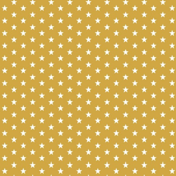 Baumwolle | bedruckt | 10mm Sterne | senf/weiss