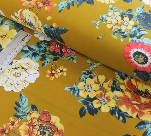 Jersey | bedruckt | große Blumen | senf
