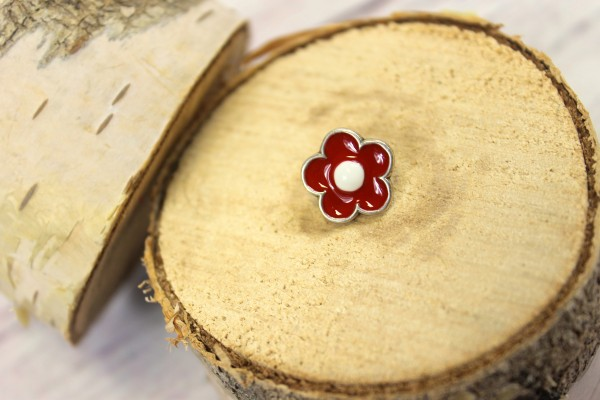 1 Knopf   Metall   Öse   Blume   rot/weiss/silber   1,5 cm