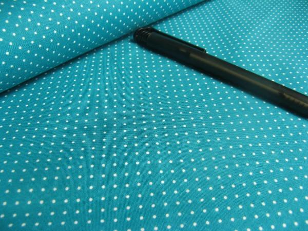 Baumwolle | bedruckt | 1mm Punkte | petrol/weiss