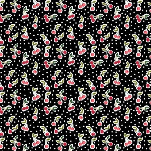 Baumwolle | bedruckt | Kirschen | schwarz