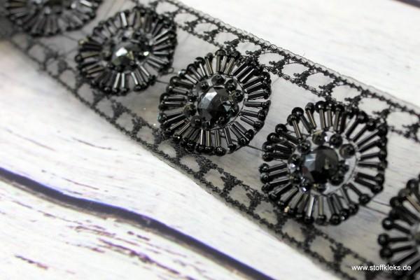 Perlenborte | black sun | 5,5 cm