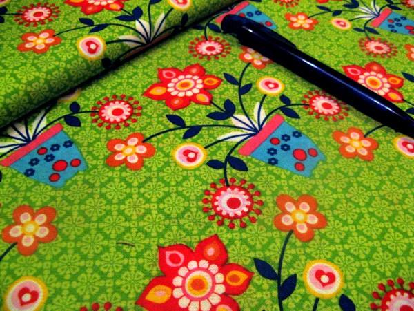 Baumwolle | bedruckt | Blumentopf-Freunde grün