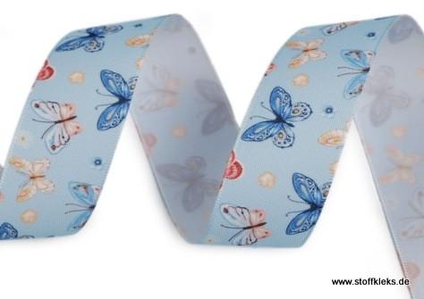 Satinband | Schmetterlinge | 25mm | hellblau