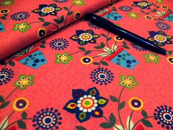 Baumwolle | bedruckt | Blumentopf-Freunde pink