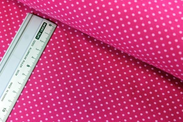 Jersey   bedruckt   3mm Punkte   pink / rosa