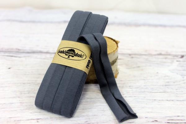 Bias Jersey Schrägband/Einfassband   40 / 20mm   3m   Nr. 064   dunkel anthrazit