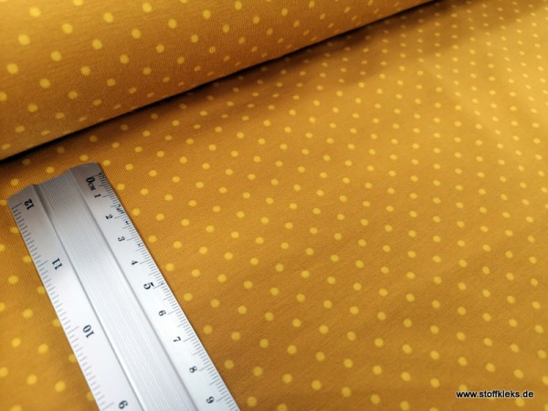 Jersey   bedruckt   3mm Punkte   senf/gelb