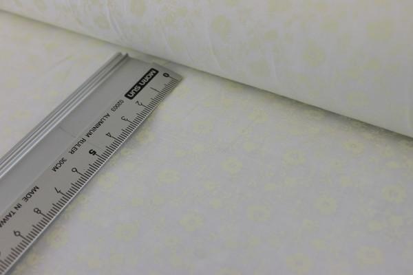 Baumwolle   bedruckt   schimmernde Blümchen   Creme weiß