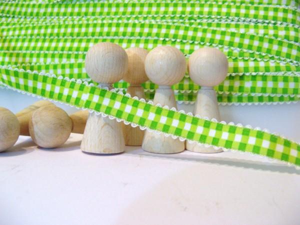 Gummiband | mit Spitze | 15mm | Karo | grün/weiß
