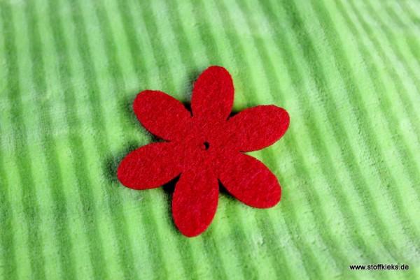 Filzapplikation | Blume mit 6 Blüten | rot