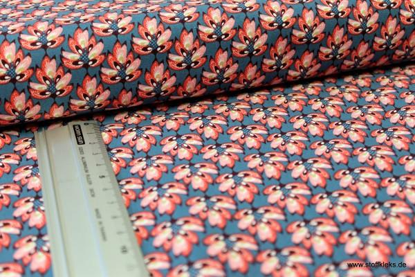 Baumwolle | bedruckt | Eyelike | Hindelopia | Blüten | pink/tannengrün