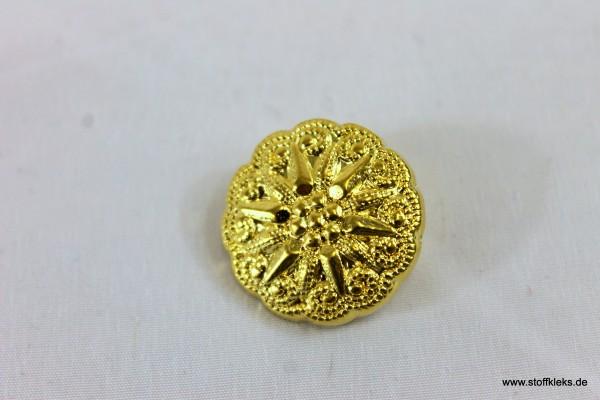 Knopf | Kunststoff | goldene Sonnenblume | Öse | 2,2 cm