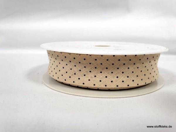 Schrägband/Einfassband | 20mm | Baumwolle | Pünktchen beige/schwarz | 3m