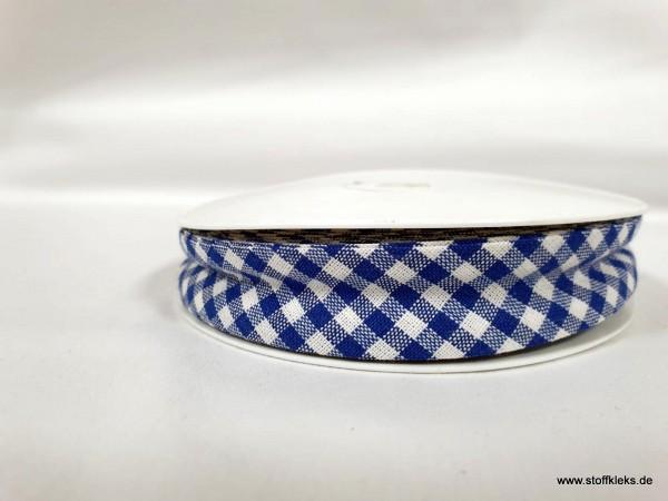 Schrägband/Einfassband | 20mm | Baumwolle | Vichy blau/weiss | 3m